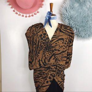 Vtg 80s Animal Print 40s style Cocktail Dress M
